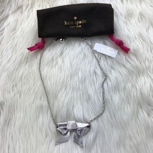NEW Kate Spade Silver Bow Ribbon Pendant Necklace